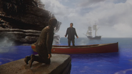5x15 Killian Jones Capitaine Crochet dos agenouillé à genoux Liam sain et sauf barque bateau navie océan mer Mont Olympe