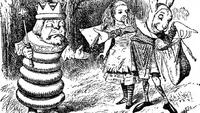 Roi Blanc Alice Lièvre de Mars messager gravure Tenniel Roman De l'Autre Côté du Miroir