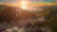 7x04 vue mer océan jungle chutes d'eau cascades nuages bas vapeur cimes collines montagnes falaises vallées du bout des mondes frontières confins limites frontières croisée royaumes éclat coucher de soleil