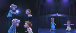 La Reine des Neiges (Disney) Elsa Anna enfant salle de bal neige d'artifice glace patinoire