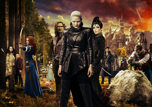 Once Upon a Time season 5 Camelot Blanche-Neige Prince David Charmant Merida Robin de Locksley des Bois Belle Rumplestiltskin Emma Dark Swan Méchante Reine Regina Killian Jones Capitaine Crochet Merlin Lancelot Roi Arthur Excalibur