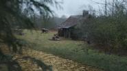5x19 vue maison chaumière du forestier Zelena route de briques jaunes