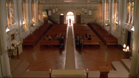 L6x17 bancs église Los Angeles Christian Shephard ouvre portes lumières mort après-vie passer à autre choses personnages