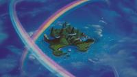 Peter Pan (Disney) 1953 Pays Imaginaire vue arrivée apparition arc-en-ciel île