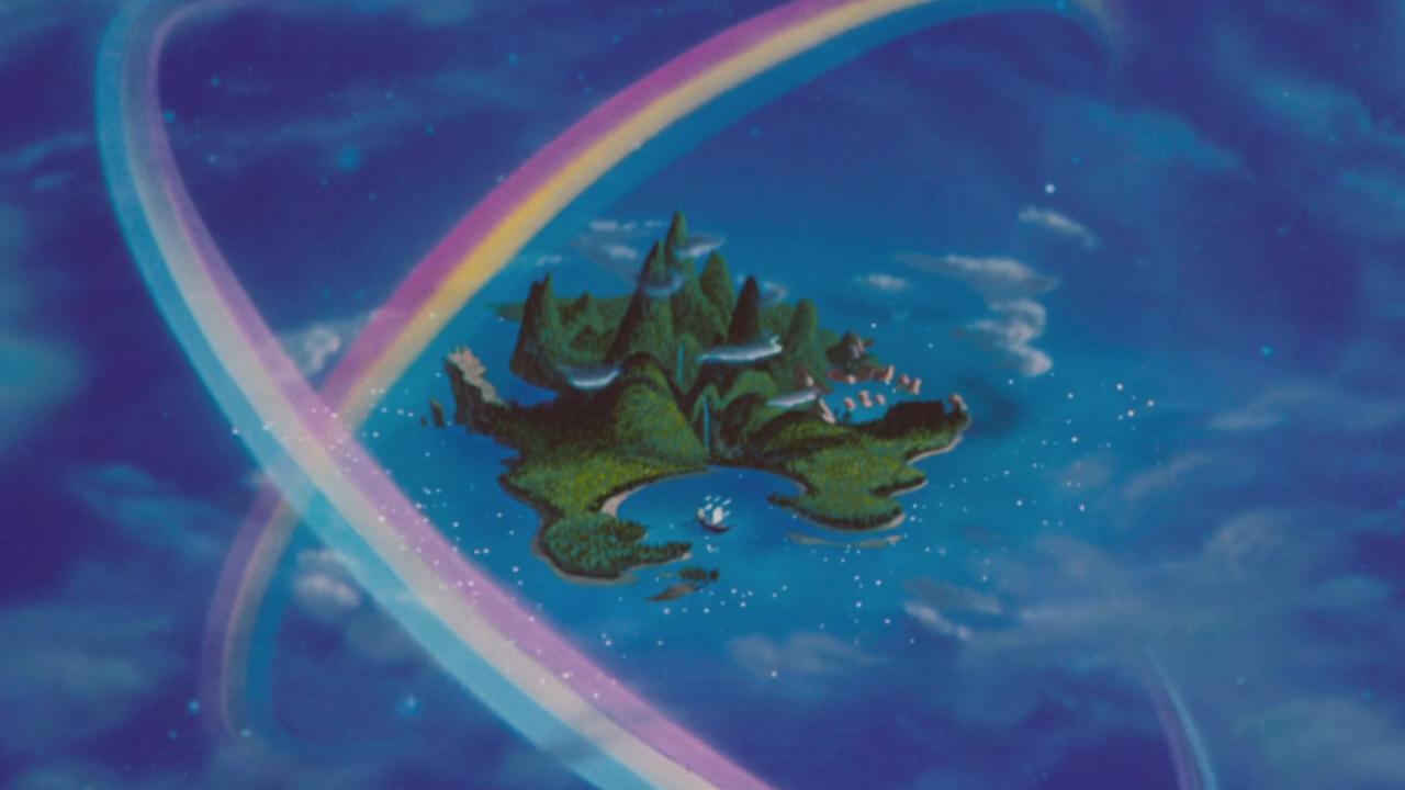 Image peter pan disney 1953 pays imaginaire vue arriv e apparition arc en ciel - Image de peter pan ...