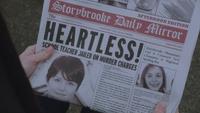 1x18 Storybrooke Daily Mirror page une édition du soir samedi 25 février 2012 Heartless School Teacher Jailed On Murder Charges
