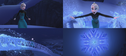 La Reine des Neiges (Disney) Elsa magie cryokinésie flocon pont de glace Libérée Délivrée Let It Go