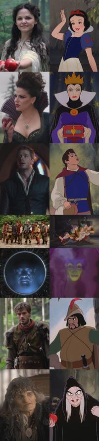 Personnages Blanche-Neige (Disney) et les Sept Nains Once Upon a Time Méchante Reine Regina Prince David Charmant Miroir Magique Chasseur