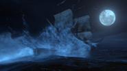 3x01 Jolly Roger bateau navire vaisseau amerissage arrivée Pays Imaginaire vagues lune nuit