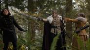 6x10 Regina Mills Roi David Reine Blanche-Neige menaces épée arc flèche