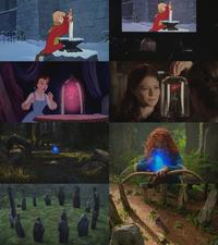 5x01 anecdotes références à Disney Merlin l'Enchanteur Moustique Arthur Excalibur La Belle et la Bête rose enchantée Rebelle Brave feux follets colline cercle de pierres