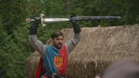5x04 Roi Arthur présentation épée Excalibur fourreau