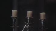 3x15 chandelier Lumière trois bougies éteintes