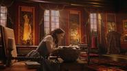 6x09 Belle assise chaise siège bébé panier salon séjour Château des Ténèbres fenêtres lumière lueurs soleil couchant crépuscule soirée