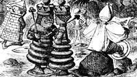Roi Rouge Reine Rouge De l'Autre Côté du Miroir gravure Tenniel