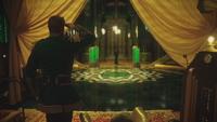 4x17 Palais Cité d'Émeraude loge Grand Magicien d'Oz Robin de Locksley des Bois salut Zelena Méchante Sorcière de l'Ouest surprise