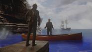5x15 Killian Jones Capitaine Crochet dos debout Liam sain et sauf barque bateau navire océan mer Mont Olympe