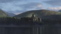 Rebelle Brave Disney DunBroch château falaise lac mini