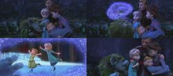 La Reine des Neiges (Disney) Elsa Anna enfant Roi Reine d'Arendelle Trolls de pierre Pabbie guérison souvenirs magie