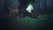 1x02 Sort noir Malédiction lancement nuage fumée violette verte éclair sanctuaire pierres rochers arbres forêt