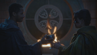 5x07 Merlin Saint Graal Nimue sanctuaire feu flamme de Prométhée