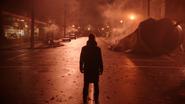 5x16 Hadès dos grand-rue principale Storybrooke tour de l'horloge des Enfers nuit