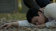 6x07 Mary Margaret tombée sol inconsciente feuilles main David