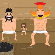 Venjen, Oven y Accino en la sauna