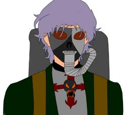 Personaje piromano mascara de gas