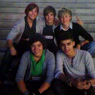 The first ever photo of One Direction as a band, shortly after they were placed together as a group. Taken by Louis's mother, Joannah.