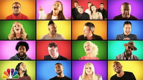 """Jimmy Fallon, The Roots, and Music Superstars Sing """"We Are The Champions"""" (A Cappella)"""