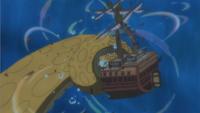Kraken destrueix el vaixell dels Pirates Caribou
