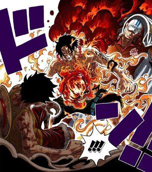 Ace i Ruffy vs Akainu