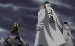 Shiki s'enfronta amb Sengoku i Garp