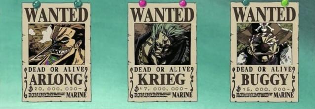 Cartells de recompensa d'en Krieg, Buggy i Arlong