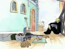 En Sanji donant menjar a en Gin