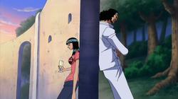Robin parlant amb l' Aokiji