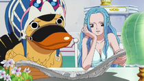 Vivi and Carue Read About Luffy