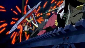 El soldado mecánico gigante del castillo Karakuri/Enfrentamientos