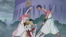 Mascarpone y Joscarpone atacan a Luffy
