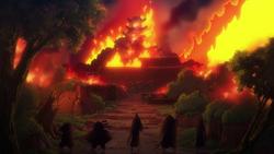 Castello di Kuri brucia