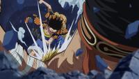 Luffy Defeats Bellamy at Dressrosa Palace