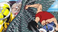 Luffy golpea a Krieg