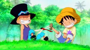 Luffy y Sabo riendo juntos