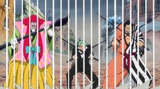 Kanjuro, Zoro y Kin'emon deteniendo la Torikago