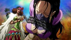 Naomi tiene Nico Robin in ostaggio