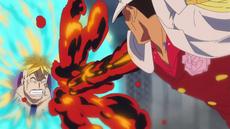 Marco protege a Luffy de Akainu