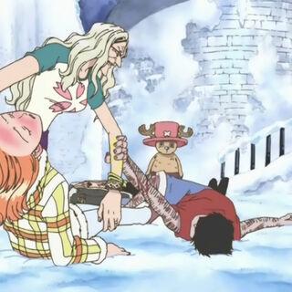 Luffy fleht Kureha an, seine Freunde zu retten.