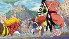 Kin'emon detiene a Inuarashi y Nekomamushi
