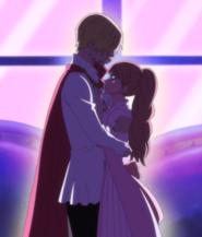 Pudding abraza a Sanji